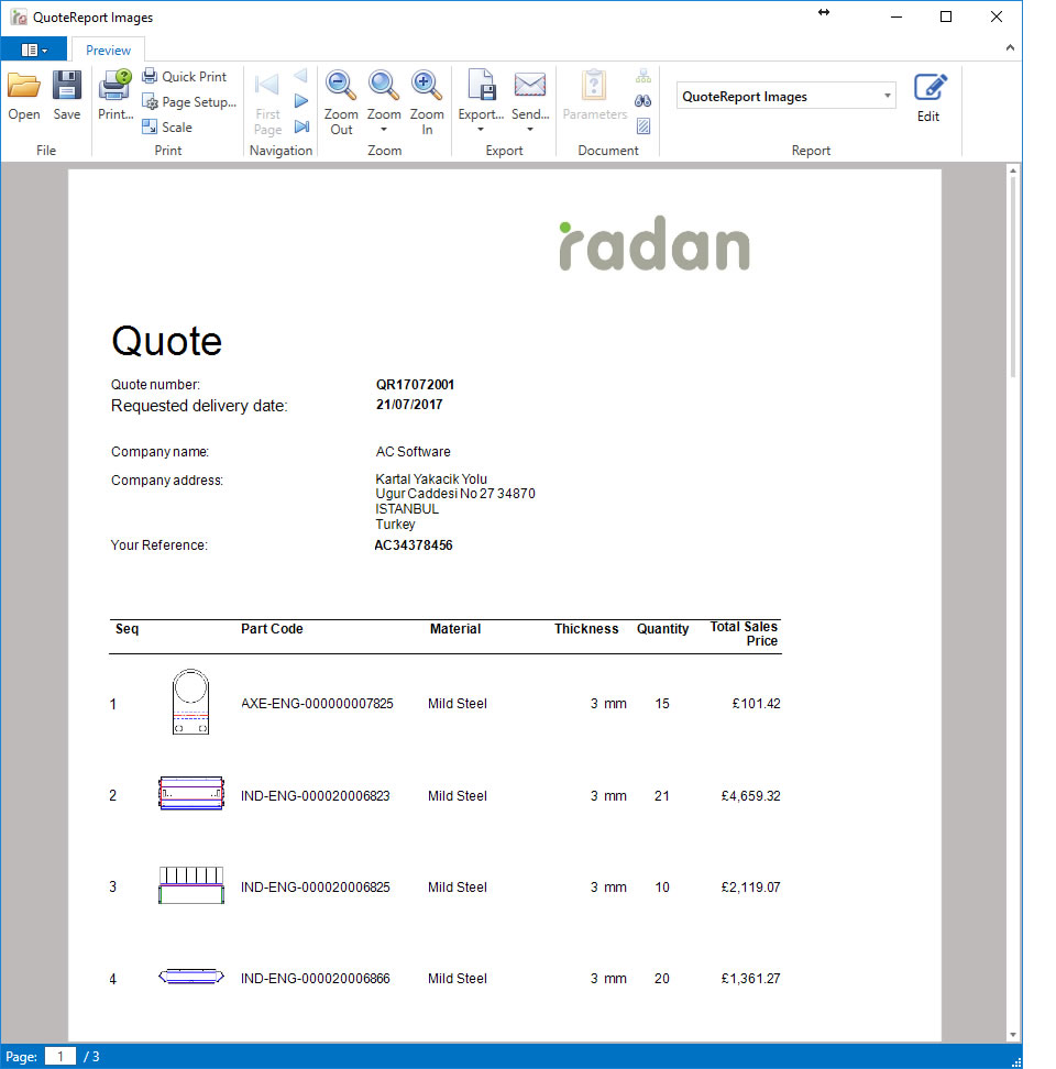 RADAN eQuote Image